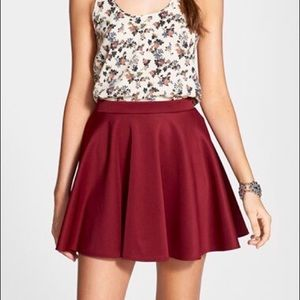 Chic Maroon/Burgundy Skater Skirt